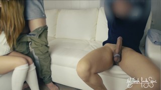 Cuckold threesome: Tied husband eats best friend's cum from wife's pussy