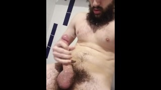 Long Dick Straight Guy Shoots Cum Ropes Onto His Beard And Chest