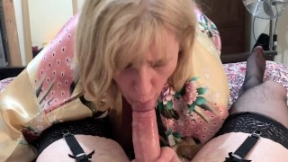 Cross Dressing Sissy Cums in Mature Moms mouth after sloppy blow job.