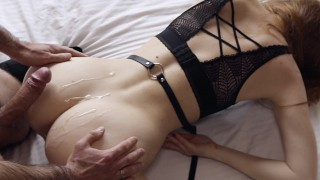 Hard fuck with slim redhead in leather stockings and high heels - Ruda Cat