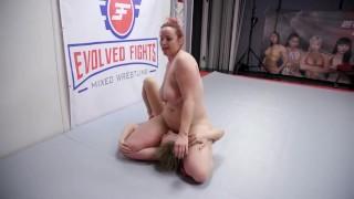 Rough lesbian wrestling sex Bella Rossi strapon fucks Riley Reyes