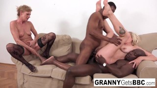 A couple of horny grannies get fucked in the ass by BBC!