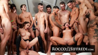 RoccoSiffredi Two Babes Get Destroyed By A Huge Group Of Guys In An Amazing Gangbang
