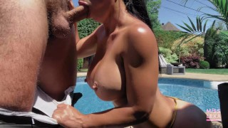 Fit fucks the pool boy in her parents backyard