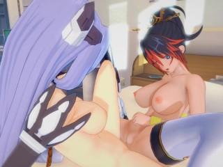 Super Robot Wars Xenosaga Hentai 3D (Lesbian) – Kaguya Nanbu x KOS-MOS
