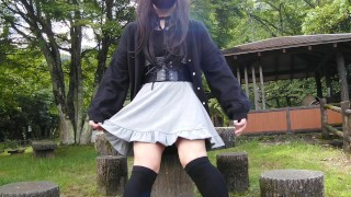 Cute transgender Honoka masturbation and ejaculates in outdoor exposure.