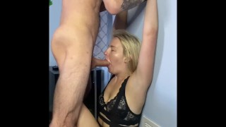 Blonde Russian MILF gets face fucked