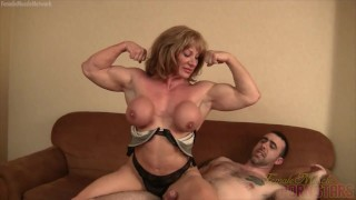 Mature blonde muscle maven gives a bicep job to a lucky wimp
