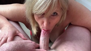 Mature Cock Hungry Step Mom Gobbles Cock, Guzzles Cum and loves it!
