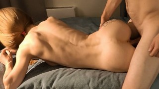 Skinny young blonde Jenny fucked hurd by older guy