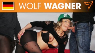 Cock-craving Eva enjoys a filthy threesome with two studs! WOLF WAGNER