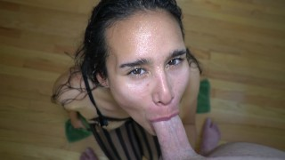 Sweat Fetish 4K - Amateur Latina PAWG Gets Hot & Sweaty For Doggy Style and Deepthroat Swallows Cum