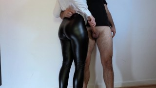 i had no choice at this outfit... step sister in leather leggings jerked me off - cum on hot ass 4k