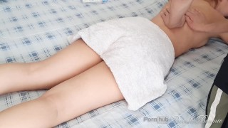 My roommate gives me a massage and we end up fucking hard and cumming inside my tight pussy