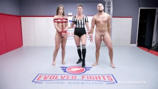 Cheyenne Jewel Mixed Nude Wrestling Shawn Fox Gets Tied Up And Fucked Hard - Evolved Fights