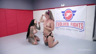 Savannah Fox Lesbian Wrestling Fight Vs Jenevieve Hexxx Gets Rough Then Winner Fucks The Loser