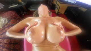 Blonde with huge Tits gets Big Boobs massaged on My Deepthroat boat