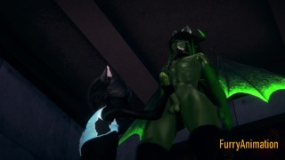 Furry Yaoi 3D - Black Cat Blowjob to Dragon