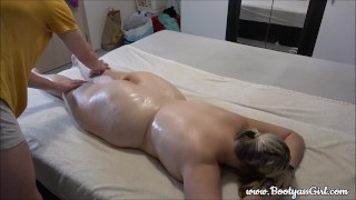 Tired Chubby Girl Gets Massage After a Hard Day