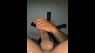 Stroking My Big Black Dick In AirBnB Cumming In Your Face