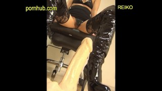 Word blame masturbation with enamel boots ★ Leg fetish