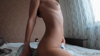 VIRGIN PUSSY SUDDENLY CUMS Fucking herself with pillow | Hilana Won