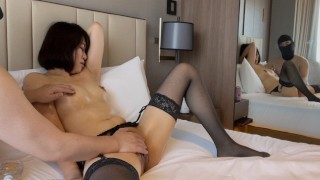 A frustrated married woman with beautiful breasts and beautiful legs squirts with an open leg oil ma