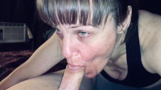 Mature cougar wife enjoying a er mans fat cock. He shoots a big load in my mouth and I show it