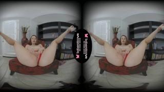 Solo redhead girl, Arietta Adams is about to cum, in VR