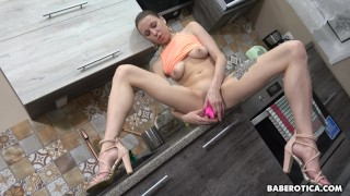 Solo blonde babe, Julia Nikitina is masturbating, in 4K