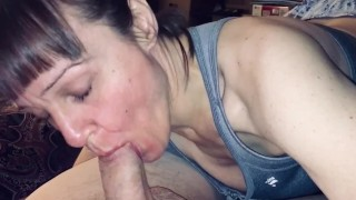 Granny sure loves sucking cock! Listen to how happy she sounds when he explodes in her mouth!