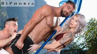 BiPhoria - Wife Catches Husband Fucking The Pool Boy