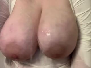 Huge Swinging Tits Under Running Water