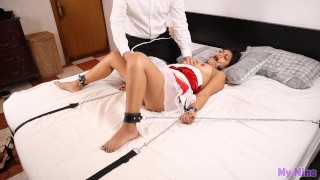 Orgasm denial with explosive ending. Submissive latina chained to bed | My Nina