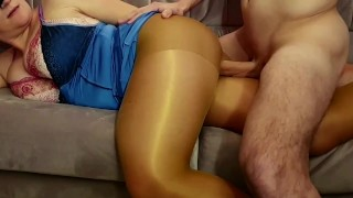 Hot night. Sex in shiny pantyhose