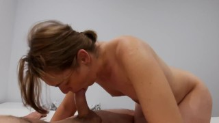Cum hungry best friend's hot wife sucks my cock and swallows all my sperm