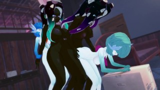 Futa Orgy: Gardevoir and Marina have a all out clone gangbang