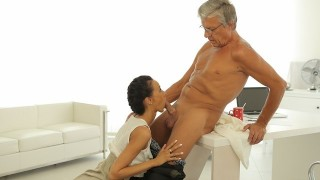 OLD4K. Old boss penetrates tanned secretary in several sex positions