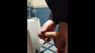 Real risky CAUGHT jerking huge cock in busy vancouver bathroom
