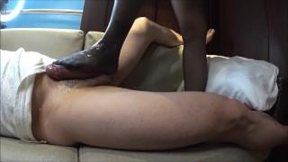 Panty stocking ❤️FOOT JOB with oil masssge(side cam)ストッキングにぶっかけ足こき(サイドカメラ)