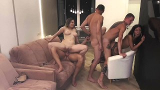 Homemade hot bisexual orgy