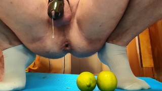 Extreme anal insertion of 3 limes ends with hands free cumshot.