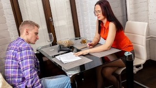 TUTOR4K. Fake tutor confronted by student who drags her into hot sex