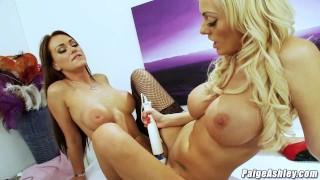 Stacey Saran scissor fucking client lesbian massage magic wand
