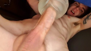 Twink fucked his fleshlight and filmed it. Moaning. Cum inside. Dick throbbed.