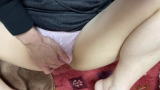 An amateur sensitive married woman is touched by a wet clitoris and ascends while being excited