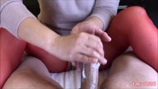 japanese hand job♡cum on stockings☆手こきでをさせて最後はストッキングにぶっかける