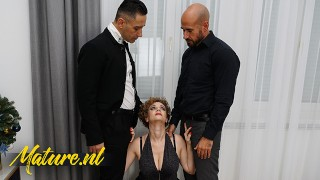 Classy MILF With Big Naturals Creampied By Two Coworkers In Threesome