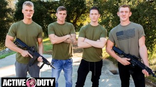 Sexiest Rookies Bareback Pound In Intense Foursome - ActiveDuty