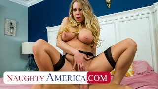 Naughty America - Katie Morgan fucks her husband's college friend for missing dinner